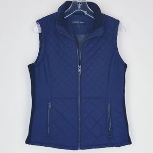 Andrew Marc Quilted Navy Vest Small FITS Medium